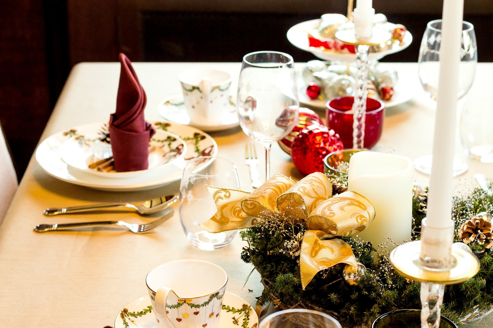 クリスマス用のテーブルセット